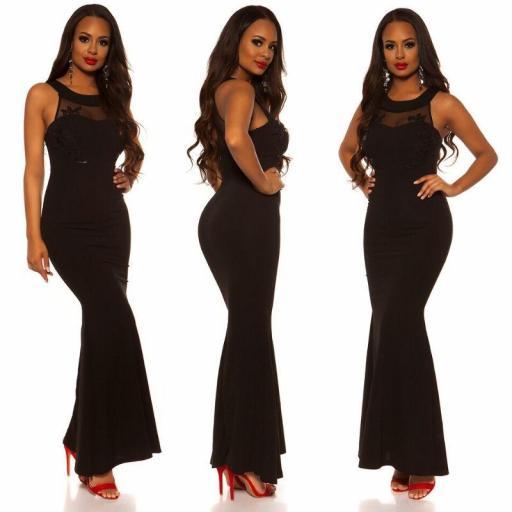 Vestido largo negro bordado  [2]