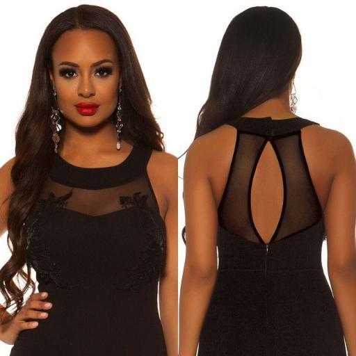 Vestido largo negro bordado  [3]