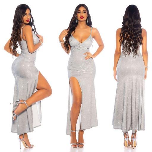 Vestido brillante plata sensual abertura