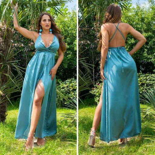 Vestido atractivo espalda sexy khaki