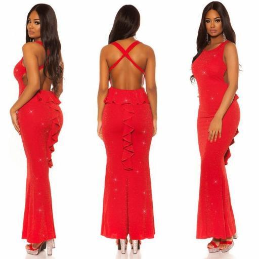 Vestido largo péplum brillante rojo