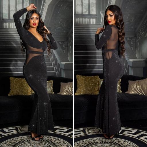 Outfit de noche vestido largo negro