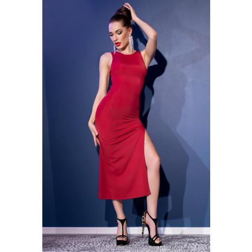 Vestido largo rojo de sensual elegancia