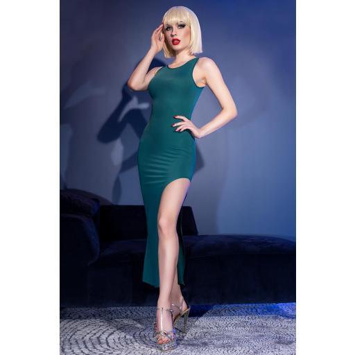 Vestido largo verde de sensual elegancia [0]