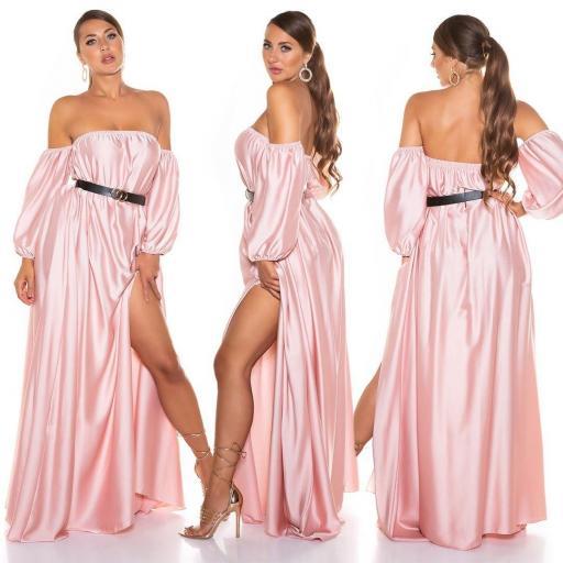 Vestido largo satinado rosa