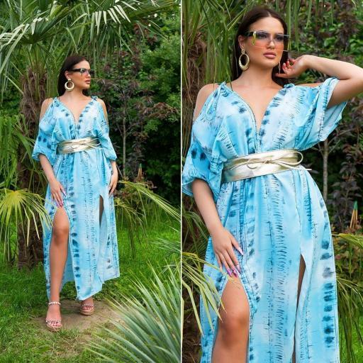 Vestido largo moda verano azul