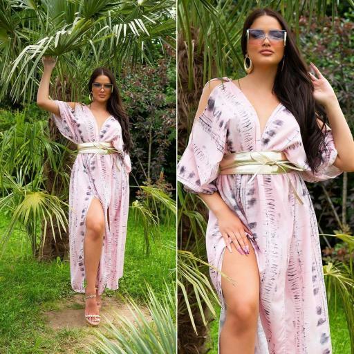 Vestido largo moda verano rosa