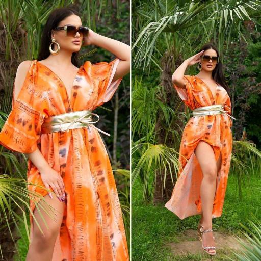 Vestido largo moda verano naranja