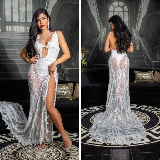 Vestido largo transparente blanco sexy