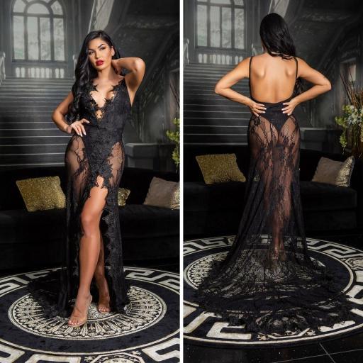 Vestido largo transparente sexy negro