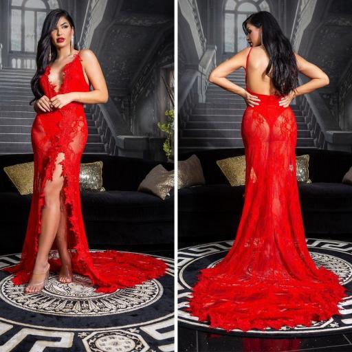 Vestido largo transparente seductor rojo