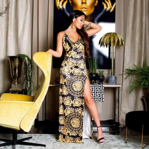 Vestido largo estampado tapiz