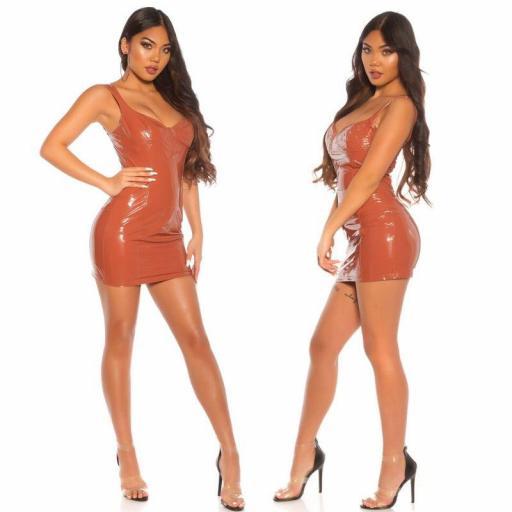 Vestido apretado bronce latex look  [2]
