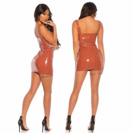 Vestido apretado bronce latex look  [3]