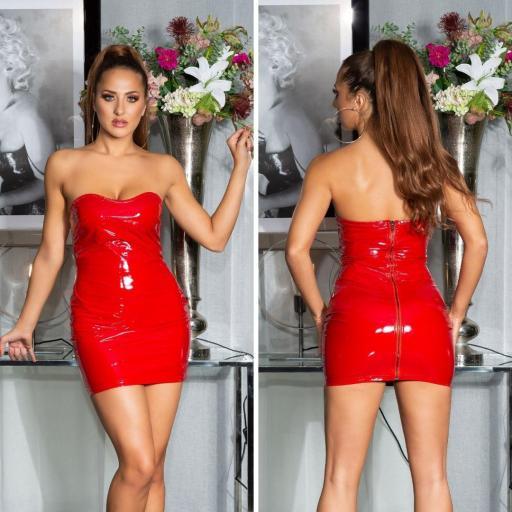 Vestido rojo latex ajustado   [1]