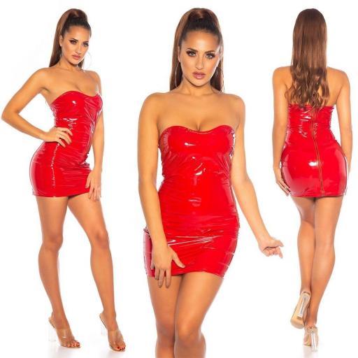 Vestido rojo latex ajustado   [0]