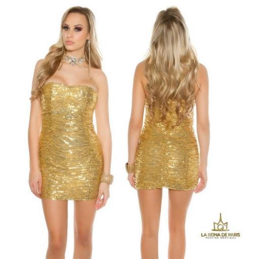 Vestido corto de lentejuelas oro