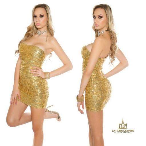 Vestido corto de lentejuelas oro [1]