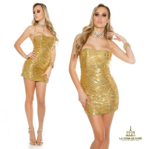 Vestido corto de lentejuelas oro [2]