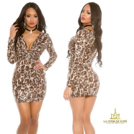 Mini vestido de fiesta Leopardo