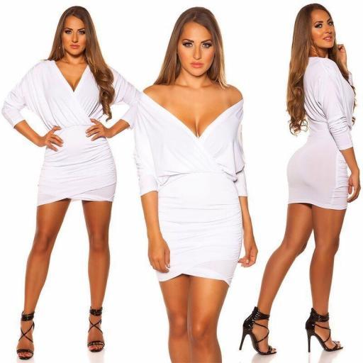 Vestido cruzado escote bajo blanco