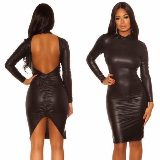 Vestido espalda desnuda ajustado negro