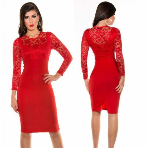 Vestido lápiz de encaje ajustado rojo