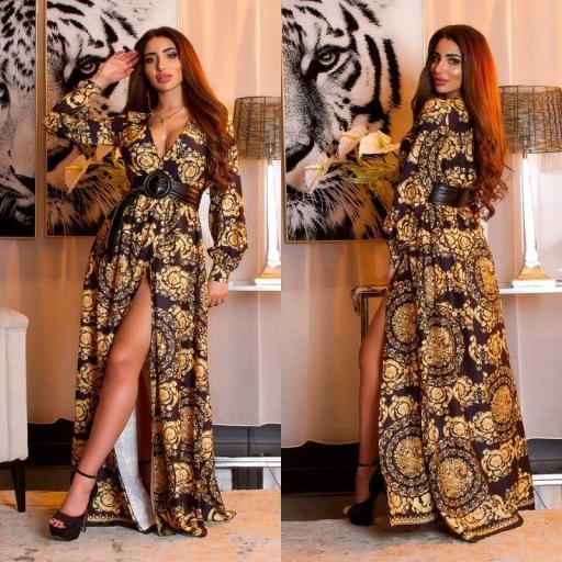 Maxi vestido envolvente estampado negro