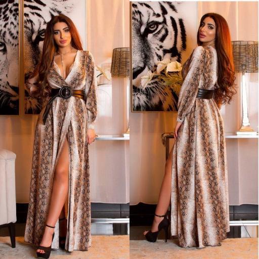 Maxi vestido envolvente estampado reptil