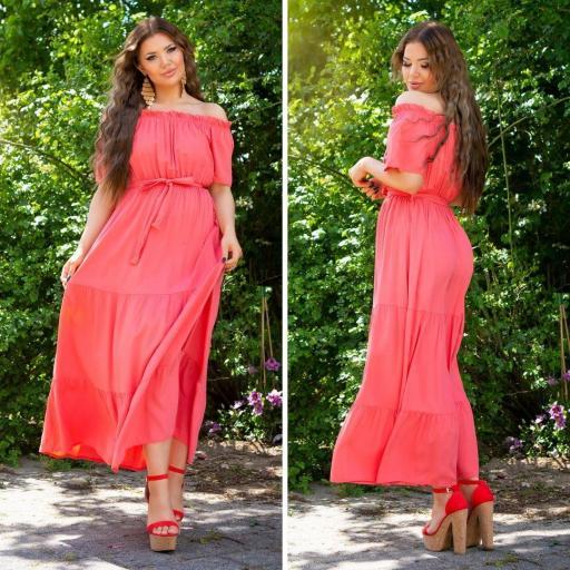 Vestido coral maxi de verano