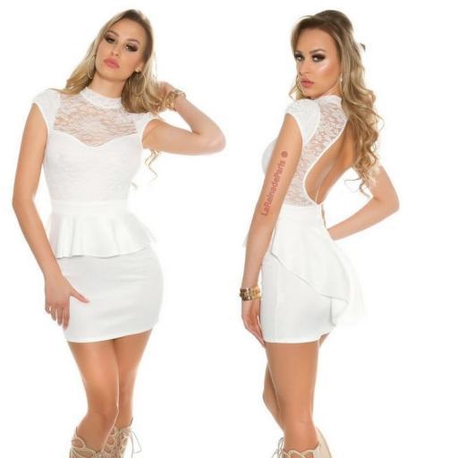 Vestido péplum de encaje blanco [3]