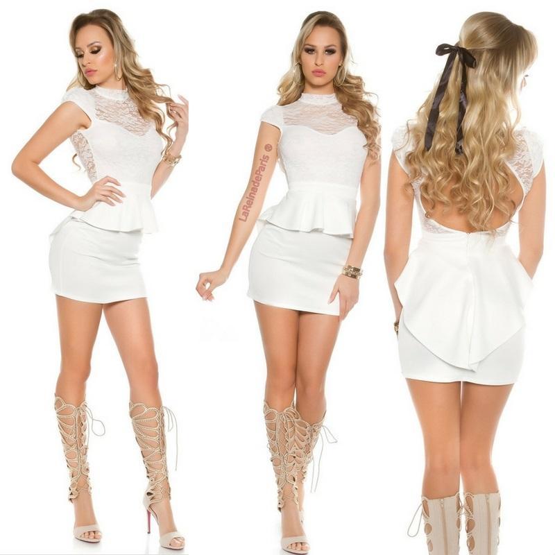 Vestido péplum de encaje blanco