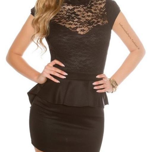 Vestido péplum de encaje negro [1]