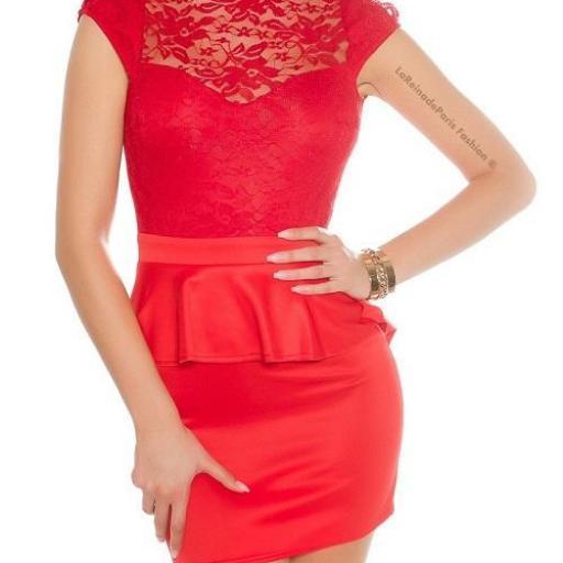 Vestido de encaje péplum rojo [1]