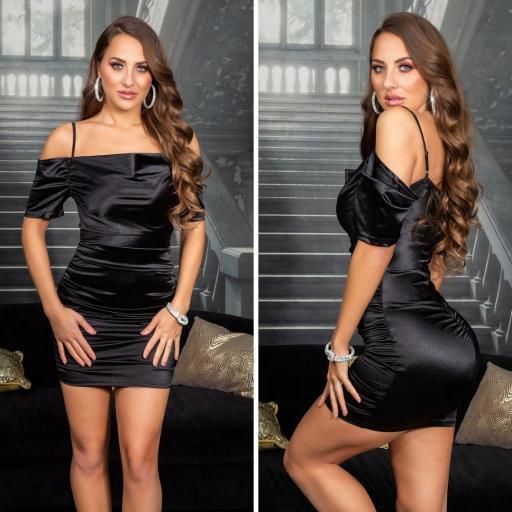 Vestido corto de fiesta negro satinado  [2]