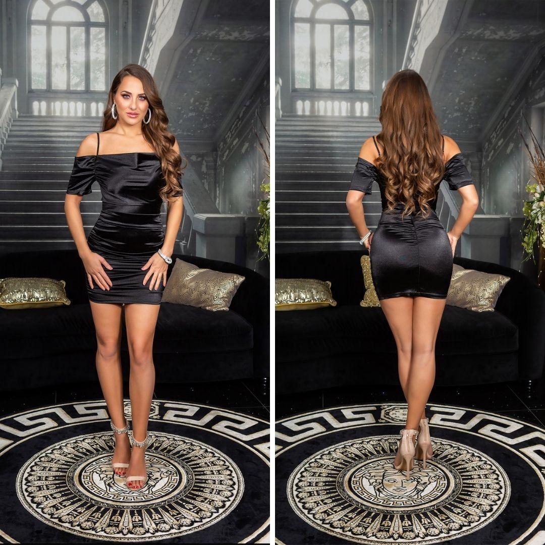 Vestido corto de fiesta negro satinado