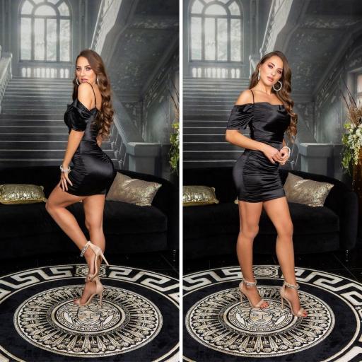 Vestido corto de fiesta negro satinado  [1]