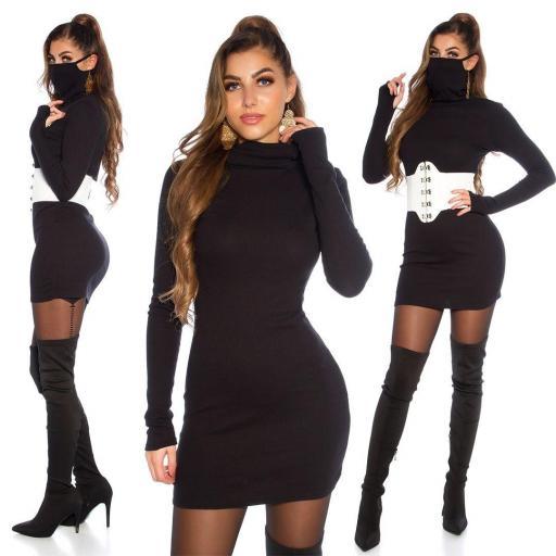 Vestido corto con mascarilla negro