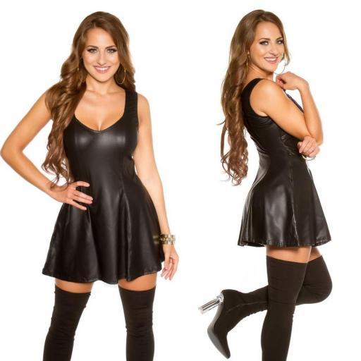 Vestido de cuero sintético negro en A