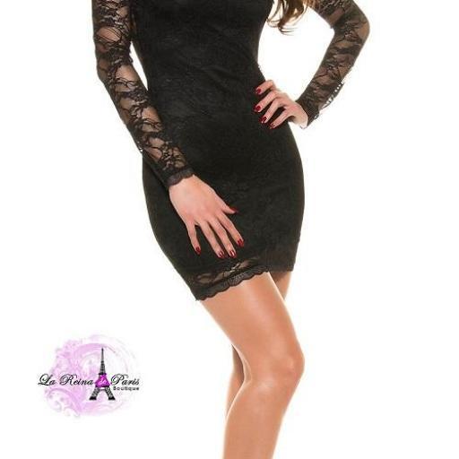 Vestido encaje elegante negro ajustado  [2]