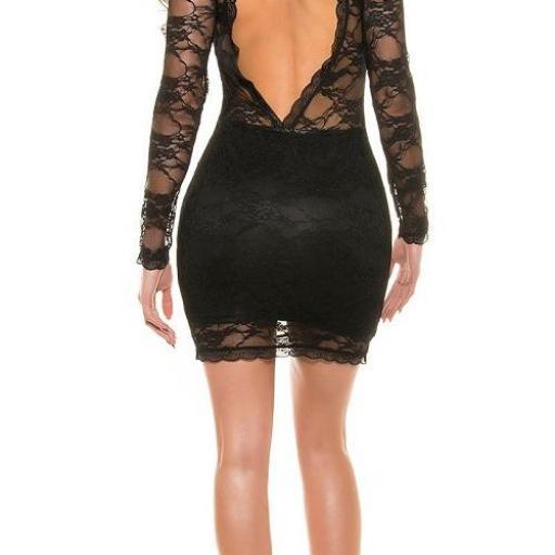 Vestido encaje elegante negro ajustado  [3]