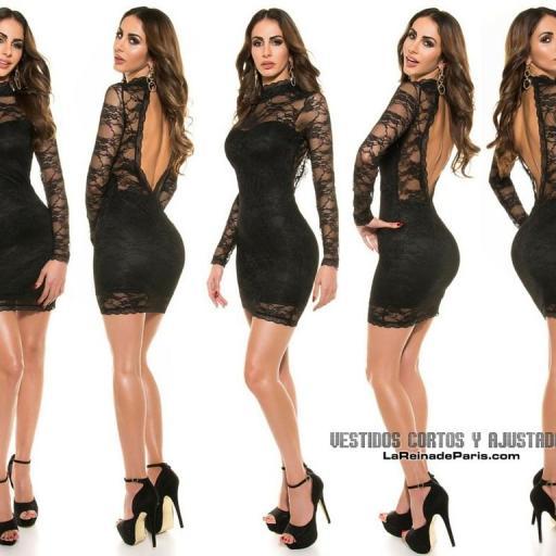 Vestido encaje elegante negro ajustado  [1]