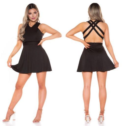 Vestido negro corto de espalda atractiva  [3]