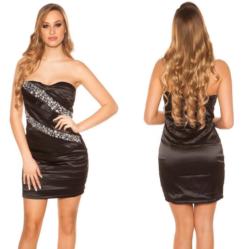 Vestido sedoso negro y brillo