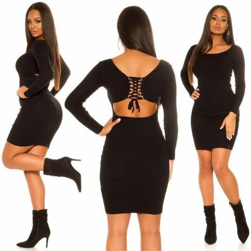 Vestido de punto negro sexy espalda