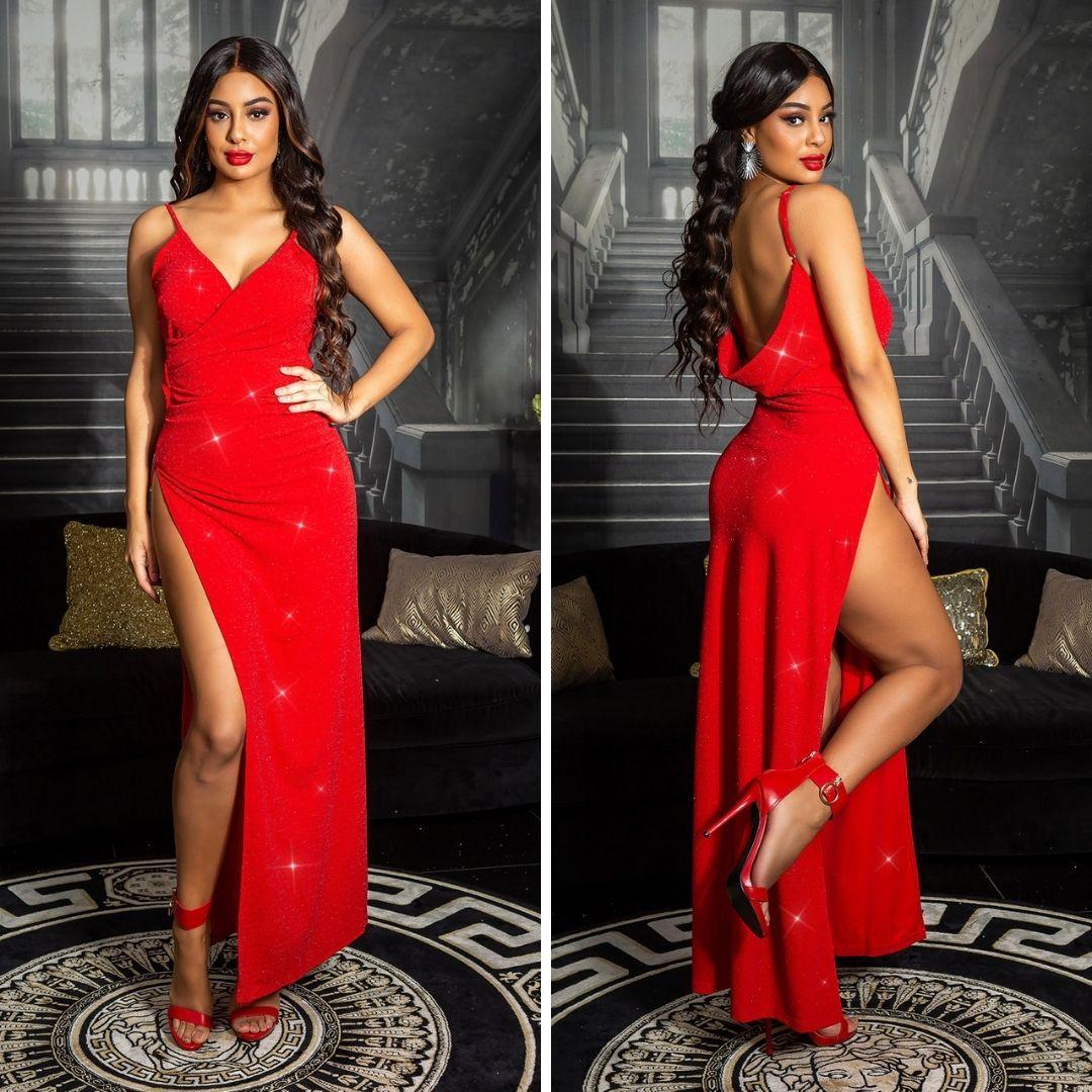 Vestido noche largo rojo