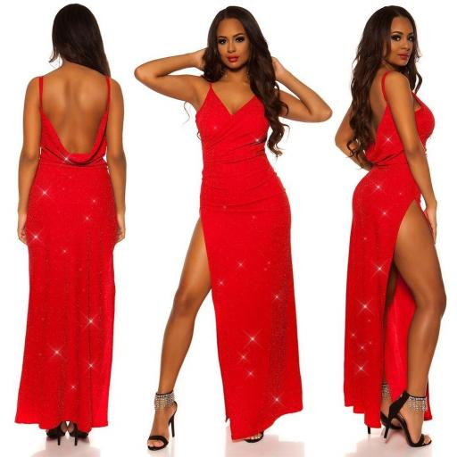 Vestido noche largo rojo [3]