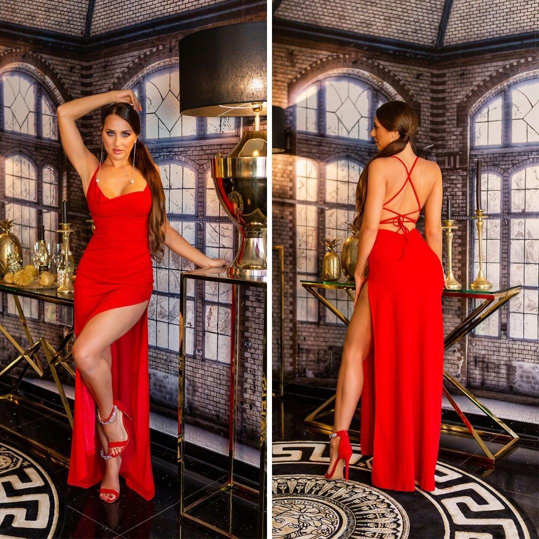 Vestido de noche rojo elegante