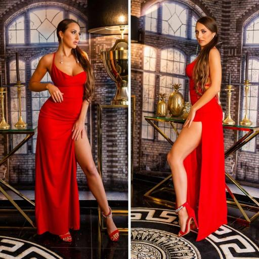 Vestido de noche rojo elegante [1]