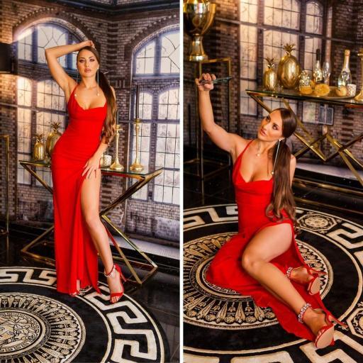 Vestido de noche rojo elegante [2]